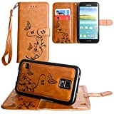 CellularOutfitter Samsung Galaxy S5 Wallet Case - Embossed Butterfly Design w/ Matching Detachable Case and Wristlet - Brown