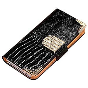 (CASEI)Hi-Q Shining Crystal Wallet Bling Leather Case for Iphone 4 4s , Blue