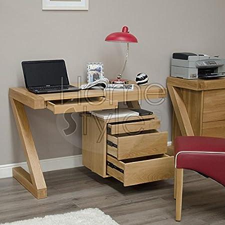 Z Oak Designer Small Desk With Drawers