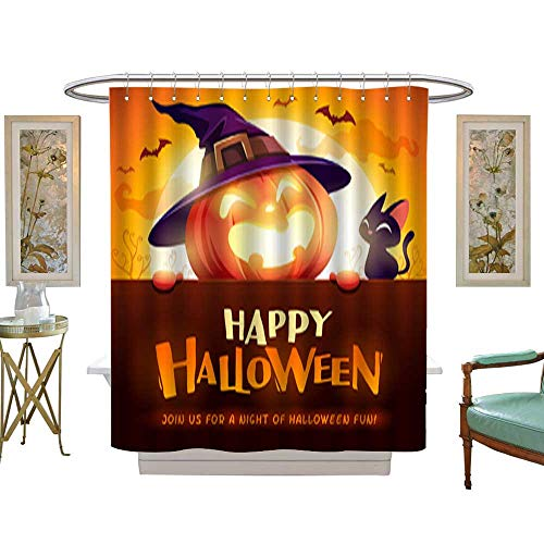 Iuvolux Decor Shower Curtain SetHappy Halloween! Jack O Lantern Pumpkin Witch hat with Big Signboard in The Moonlight 1. 12pcs Metal Hook W60 x H72 Inch