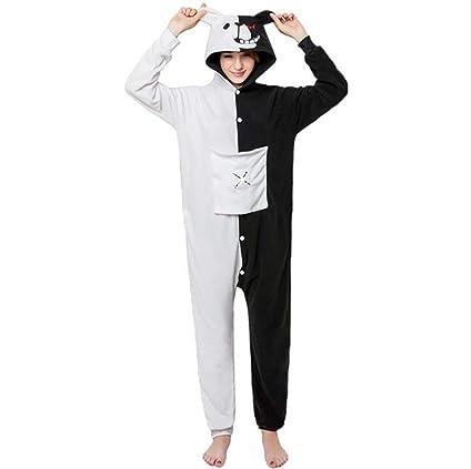 SHANGXIAN Pijama Animal Jumpsuit Adulto Unisexo Dibujos Animados Blanco Negro Oso Polar Fleece Ropa De Dormir