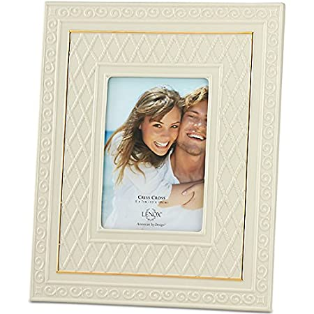 a4d87f2fb11 Lenox Ivory Criss Cross Picture Frame Accented with 24 karat gold American  By Design 5 X 7  Amazon.co.uk  Kitchen   Home