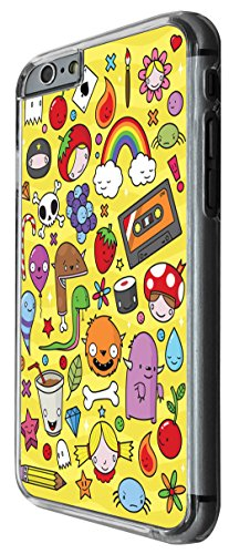 1197 - Kids Drawing Monster Drink Candy Rainbow Cute Design For iphone 6 Plus / iphone 6 Plus S 5.5'' Fashion Trend CASE Back COVER Plastic&Thin Metal -Clear