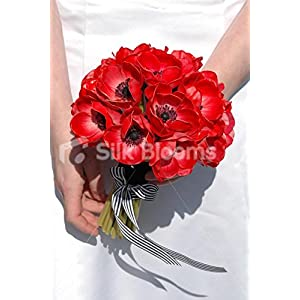 Red Fresh Touch Anemone Artificial Poppy Bridal Wedding Bouquet 69