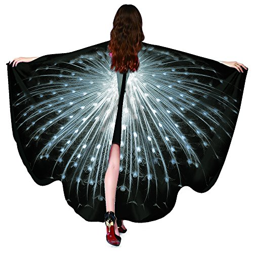 Shireake Baby Christmas/Party Prop Soft Fabric Butterfly Wings Shawl Fairy Ladies Nymph Pixie Costume Accessory … (168x135CM, Peacock White) -
