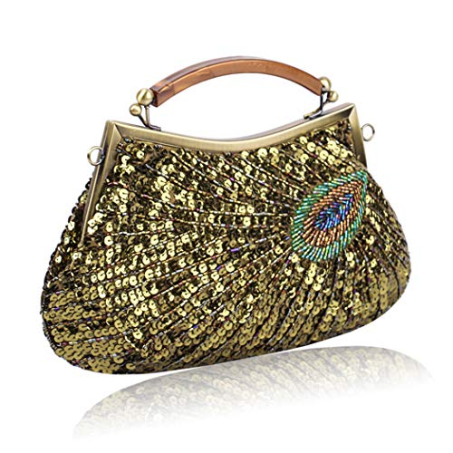 Diagonal Color Vintage Optional Female Dinner Multi Quality Shoulder MineGreen Peacock Ladies Bag Pattern Bag Beaded Handbag Handmade qS6PZqfr