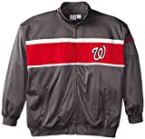 : MLB Washington Nationals Men's Track Jacket, 4X-Large Tall, Charcoal/Red