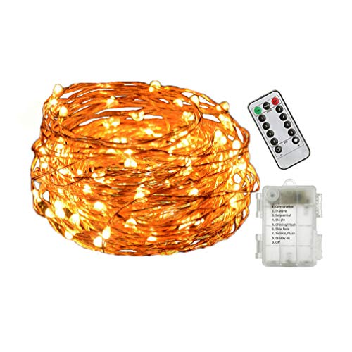 Viewpick String Lights Warm White 33ft 100 LEDs Fairy Lights Remote Wireless Dimmable LED String Lights Flexible Copper Wire Battery Operated by Viewpick