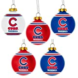 MLB Chicago Cubs Shatterproof Ball Ornament (Pack of 5), Blue