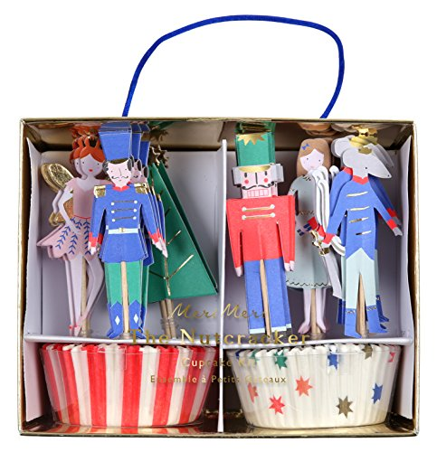 Meri Meri Nutcracker Scene Cupcke Kit 45-2955, Set Includes 24 Liners and 24 Toppers