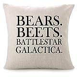 CHICCAT Cotton Linen Throw Pillow Case - Bears. Beets. Battlestar Galactica Home Decor Wedding Gift Engagement Present Housewarming Gift Cushion Cover 18 X 18