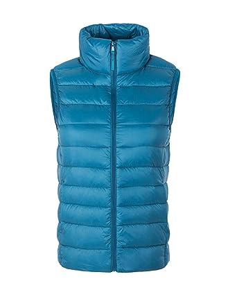 Donna Giacche Smanicato Inverno Caldo Gilet di Piumino Senza Maniche  Giubbotto Azzurro Lago S f31cc5c8567