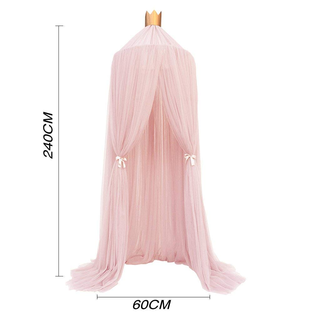Conthfut Bed Canopy Premium Yarn Play Tent Bedding for Kids Playing Reading with Children Round Lace Dome Netting Curtains Baby Boys and Girls Games House (Pink) by Conthfut (Image #7)