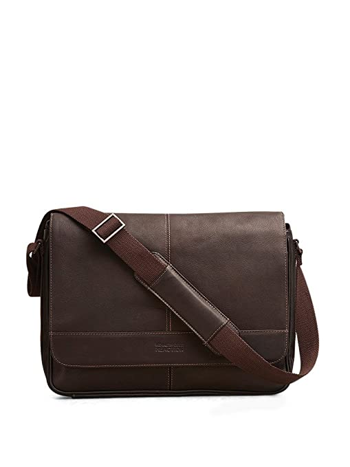9ec19abd6f5f Kenneth Cole Reaction Risky Business Full-Grain Colombian Leather Crossbody  Flapover Messenger Bag, Brown