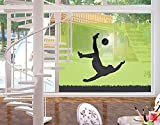 Window Mural Footballer In Action window sticker window film window tattoo glass sticker window art window décor window decoration Size: 56.7 x 75.6 inches