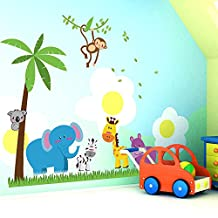 Ufengke® Coconut Trees Elephant Giraffe Wall Decals,Children's Room Nursery Removable Wall Stickers Murals