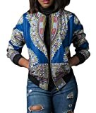CBTLVSN Women's African Dashiki Bomber Jackets Tradional Style Zip up Jackets Coat Light Blue M