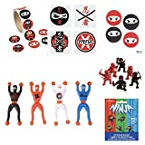 kids stickers ninja - Huge Mega NINJA POWER - Party Favors - 100 STICKERS - 12 FIGURES -12 Bouncy BALLS - 72 Tattoos - 12 WALL Crawlers & BONUS Mini Sticker Book for BIRTHDAY Child - Martial Arts Karate - Boy Parties