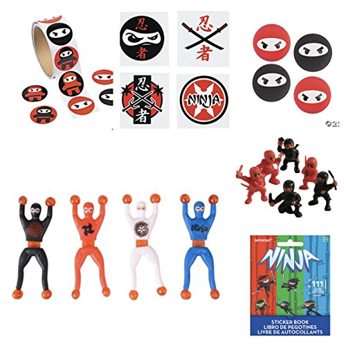 Huge Mega NINJA POWER - Party Favors - 100 STICKERS - 12 FIGURES -12 Bouncy BALLS - 72 Tattoos - 12 WALL Crawlers & BONUS Mini Sticker Book for BIRTHDAY Child - Martial Arts Karate - Boy Parties