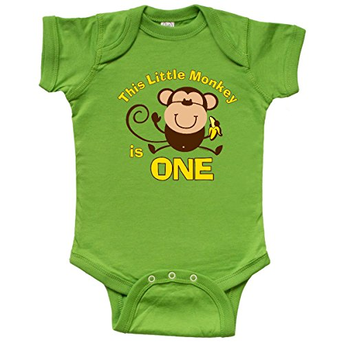Monkey Themed Birthday Party (inktastic - Little Monkey 1st Birthday Infant Creeper 12 Months Apple Green)