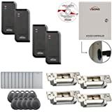 Visionis FPC-6224 Four Door Access Control TCP/IP RS485 Wiegand Electric Strike Fail Safe And Fail Secure Controller Box Black Outdoor Reader Software Included EM TK4100 Card Compatible 10000 User Kit
