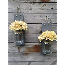 Tennessee Wicks Handcrafted Rustic Weathered Gray Mason Jar Wall Sconce, Set of 2, With Optional Off White Hydrangea Spray …