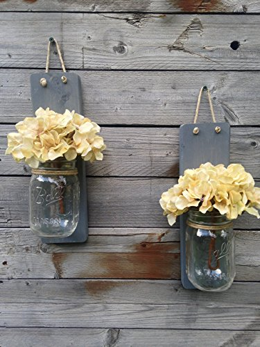 Tennessee Wicks Handcrafted Rustic Weathered Gray Mason Jar Wall Sconce, Set of 2, With Optional Off White Hydrangea Spray … Review