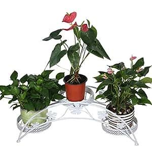 Dazone® Hierro forjado soporte para tres macetas plantas interior o exterior jardín patio decoración arco diseño