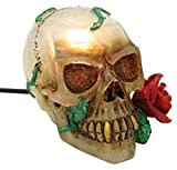 6.5 Inch Hand Painted Resin Vampire Skull with Rose Table Lamp