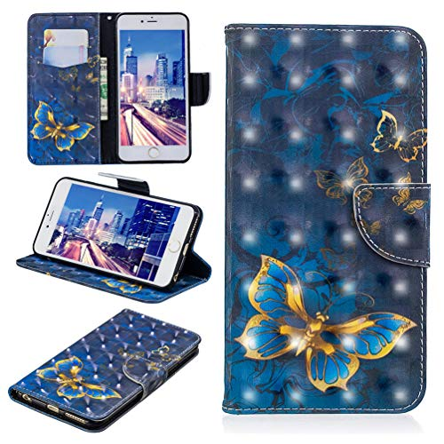 iPhone 6S Plus Case, Wallet Flip Folio Case Kickstand Card Slots Kawaii Colorful Painting Shiny 3D PU Leather Wallet Case Shockproof Soft TPU Rubber Bumper Ultral Slim Wallet Cover for iPhone 6 Plus