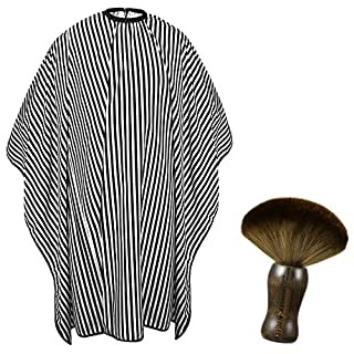 Odewa Adult Professional Barber Cape and Neck Duster Brush Hair Coloring Cutting Haircut Capes Soft Hair Barber Brush Barber Supplies for Men (Black and White Stripe)