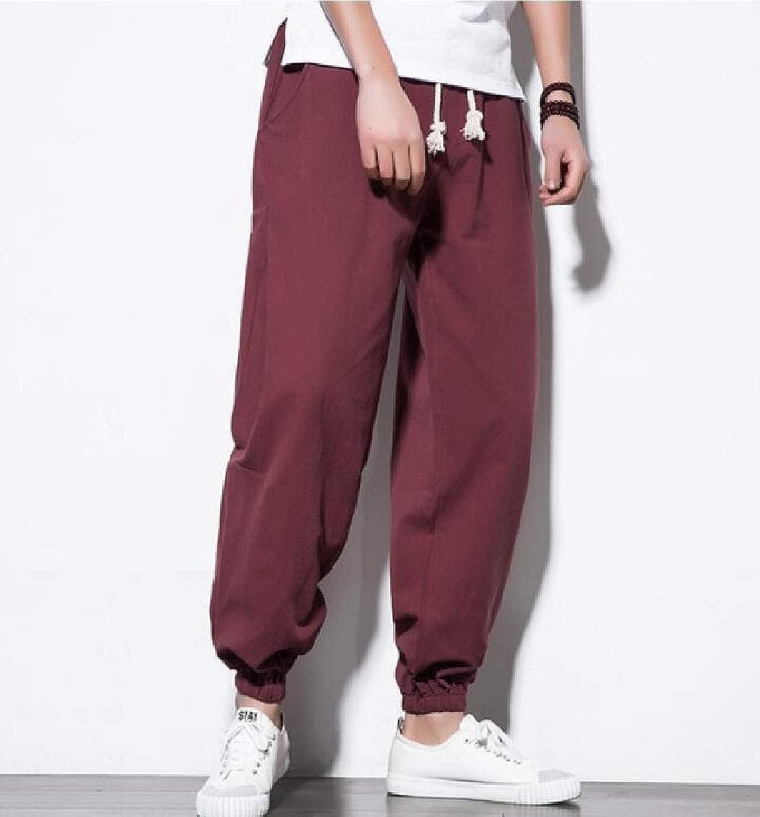 Winwinus Mens Chinese Style Elastic Bottom Oversize Harem Casual Pants