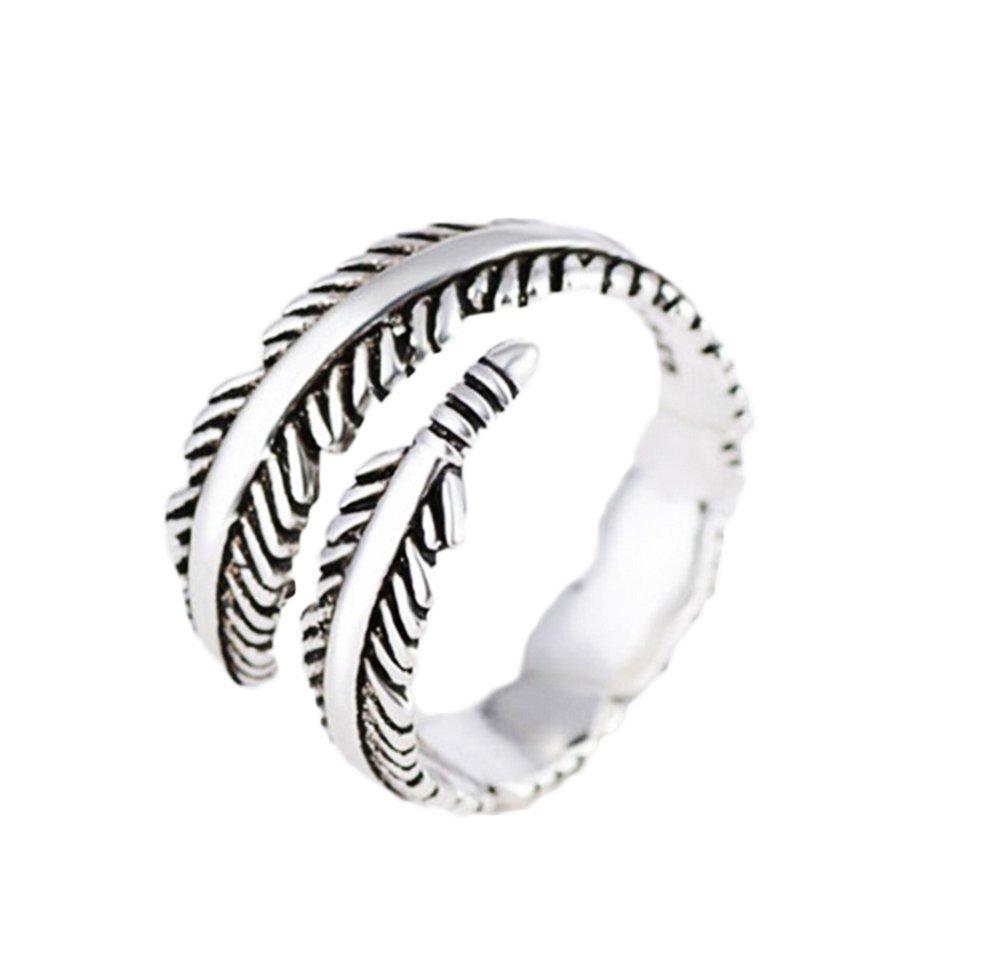 Westeng femminile aperto anello regolabile gioielli anello di titanio acciaio retro creativo a forma di piuma
