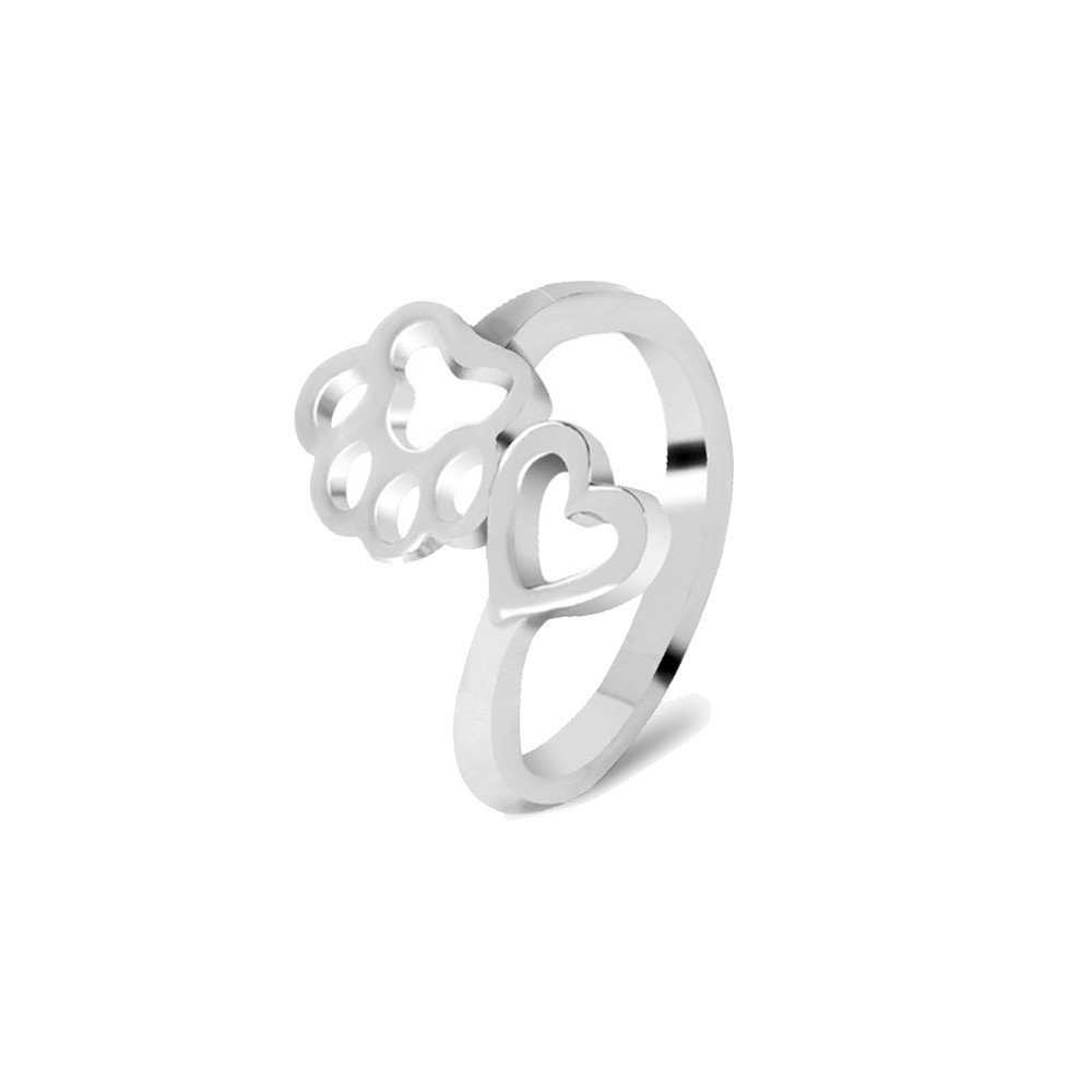 BSGSH Women Girls Hollow Paw Print Love Heart Open Tail Ring Jewelry Gift (Free Size,Silver)