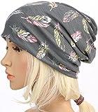 HONENNA Printed Turban Headband Chemo Cap Cotton Soft Sleep Beanie (Gray)