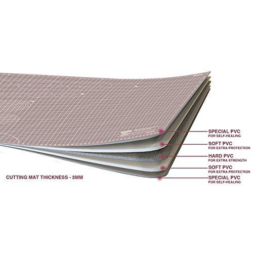 ANSIO Cutting Mat, Self Healing Cutting Mat, Hobby Cutting Mat, Sewing Cutting Mat, Double Sided 5 Layers Eco Friendly Cutting Mat Imperial/Metric 34 Inch x 22.5 Inch/89 cm x 59 cm A1 - Grey/Brown