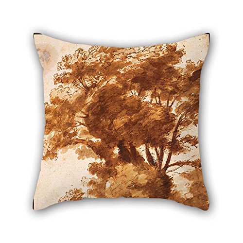 18 X 18 Inches / 45 By 45 Cm Oil Painting Claude Lorrain - Group Of Trees And Resting Sheperd Cushion Cases Each Side Is Fit For Saloon Kids Girls Club Car Seat Wedding (Resting Queen Frog)