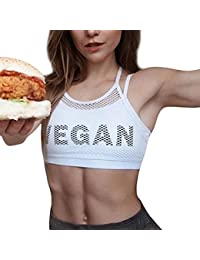 Womens Vegan Printed Spaghetti Strap Halter Mesh Tank Top Fitness Crop Top