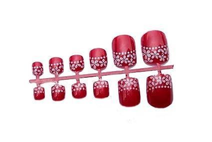 2 cajas de DIY boda diseñado falsa uñas de los pies/clavos, rojo flores
