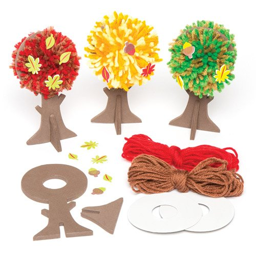 Fall Tree Pom Pom Decoration Kits in 3 Assorted Designs