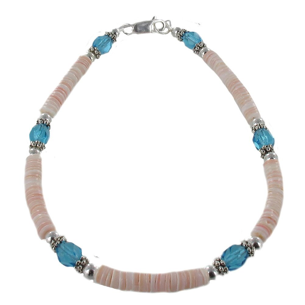 Timeless-Treasures Womens Peach Shell, Aqua Czech Fire Polished Glass & Sterling Ladies Beaded Anklet with Daisies - 10''