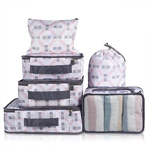 Drawer Rolled Mesh - VAGREEZ Packing Cubes 6 Pcs Travel Luggage Packing Organizers Set with Laundry Bag