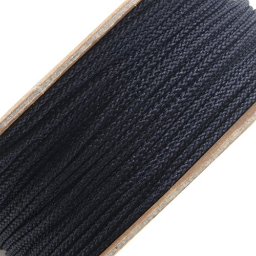 BEADNOVA 1mm Black Color Premium Grade Nylon Beading Thread String Rope Roll Macrame Cord 20 Yard 60 Feet 18m