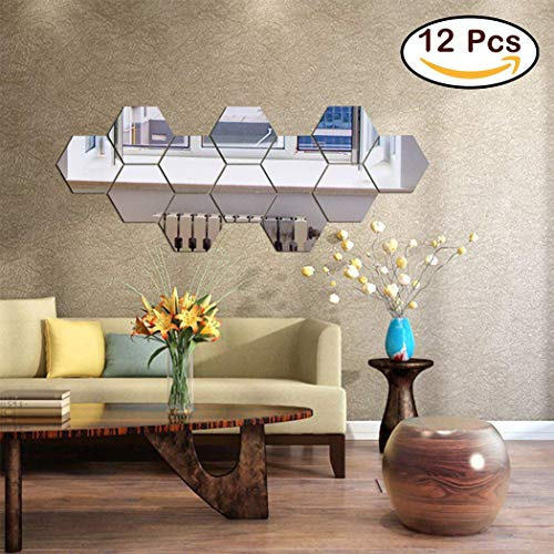 12PCS Mirror Wall Stickers, Hexagon Mirror Removable Art DIY Home Decorative Hexagonal Acrylic Mirror Sheet Plastic Mirror Tiles for Home Living Room Bedroom Sofa TV Background Wall Decal Decoration (Plastic Mirror Tiles Large)