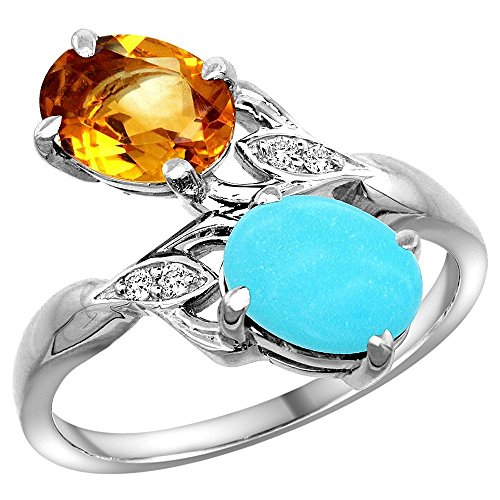 - 10K White Gold Diamond Natural Citrine & Turquoise 2-stone Ring Oval 8x6mm, size 6.5