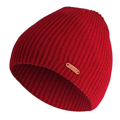Men Women Short Vertical Stripes Wool Knit Ski Beanie Crochet Winter Hat(Wine Red)