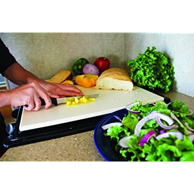 Camco Decor Mate Stove Topper and Cutting Board - Eliminates RV and Camper Stove Top Rattling |Can be Used as a Serving Tray - Almond (43709): Automotive