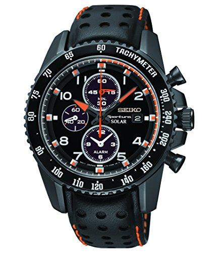 Seiko Mens Chronograph Black Strap - Seiko Solar Chronograph Black Dial Leather Strap Men's Watch SSC273