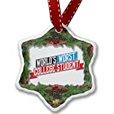 Christmas Ornament Funny Worlds worst College Student - Neonblond