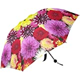 Summer Landscape - Personalized Beautiful Girls Floral - Pink Yellow Red Dahlia floral Umbrella Travel Sunny/rain Foldable Umbrella